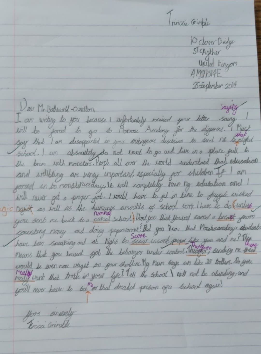 Creative letter writing to one of the characters in The Halloween Parade