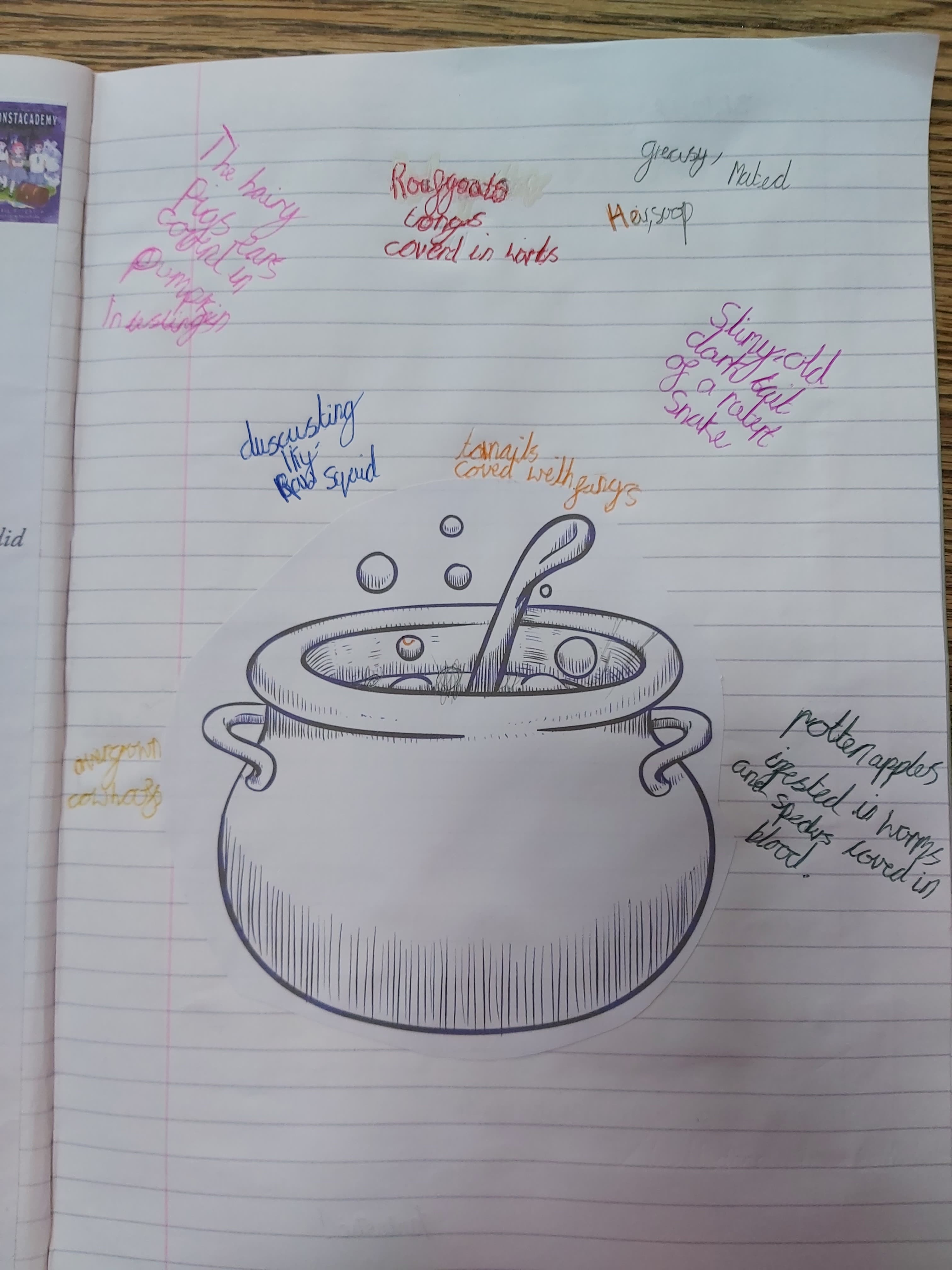 Good use of imaginative writing to list all of the ingredients in a potion