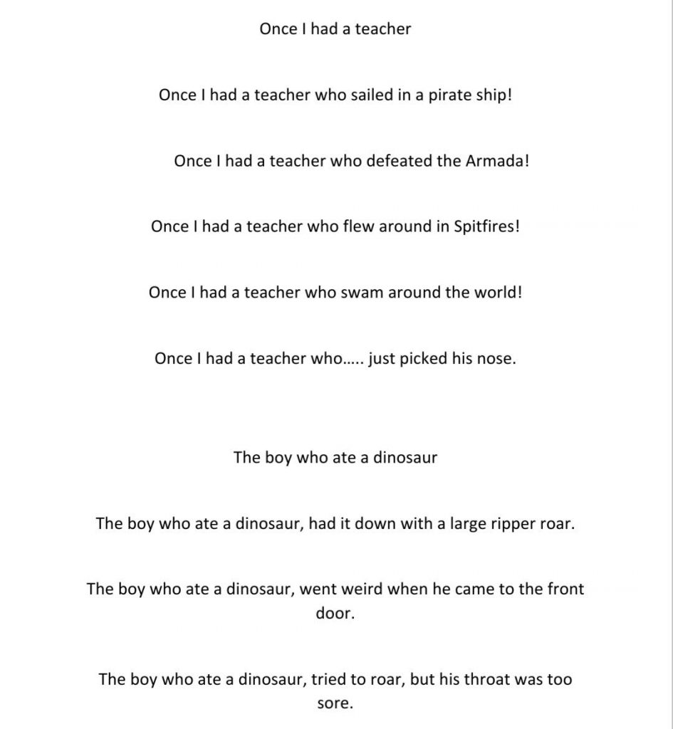 A brilliant poem from a Year 1 child inspired by Matt Beighton's poetry workshop